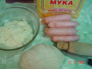 Вареники с сосисками и картофелем. Ингредиенты